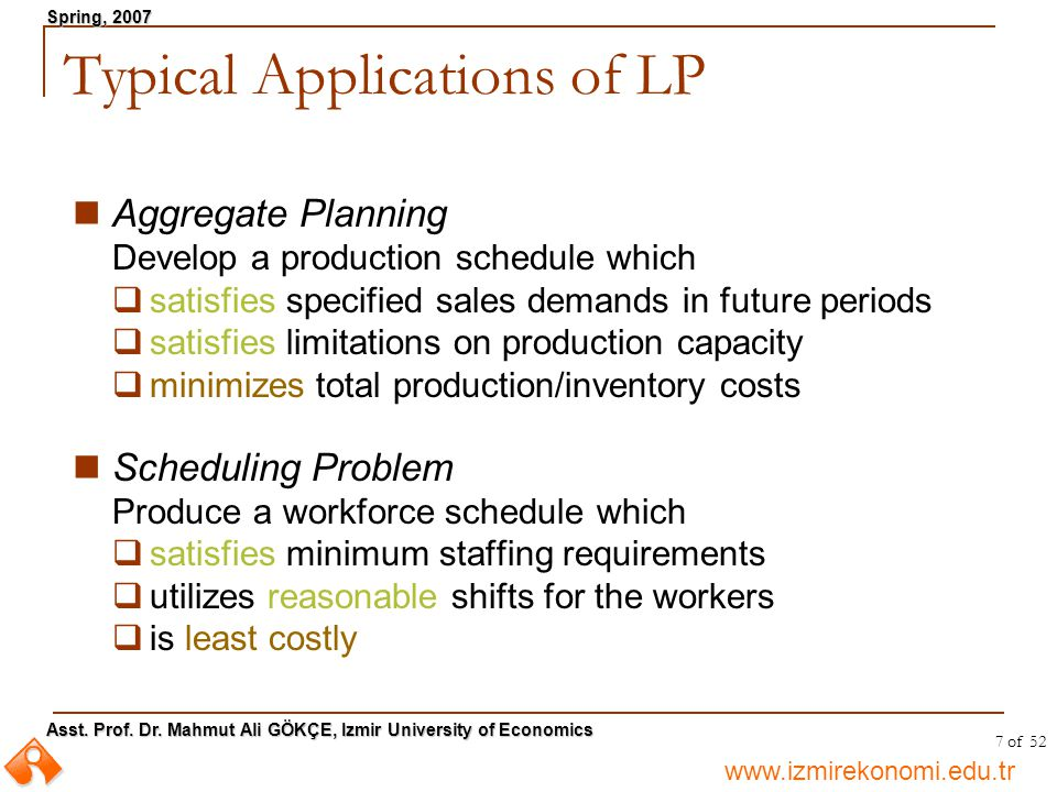 Typical Applications of LP