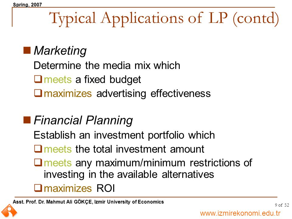 Typical Applications of LP (contd)