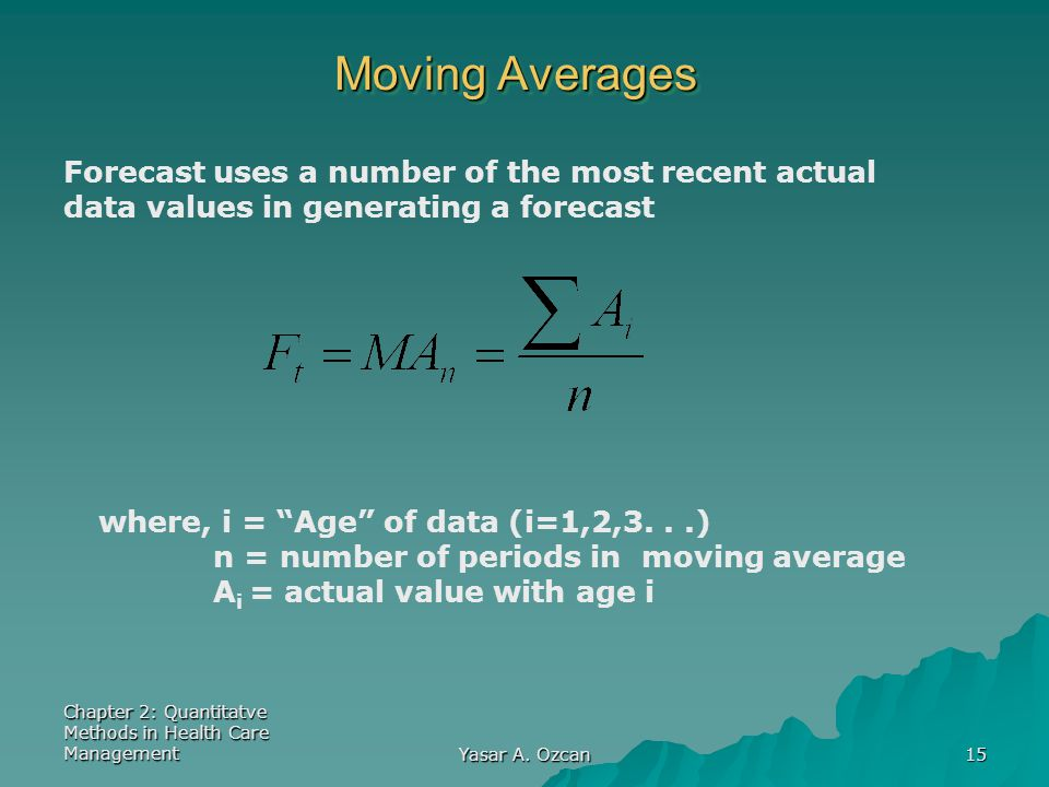 Moving Averages Forecast uses a number of the most recent actual data values in generating a forecast.