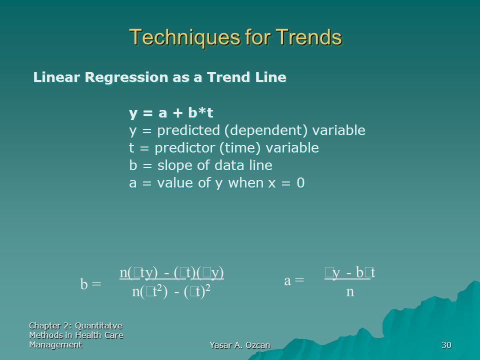 Techniques for Trends n(åty) - (åt)(åy) n(åt2) - (åt)2 b = a =