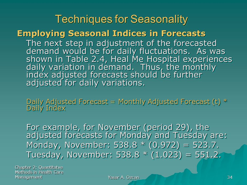Techniques for Seasonality