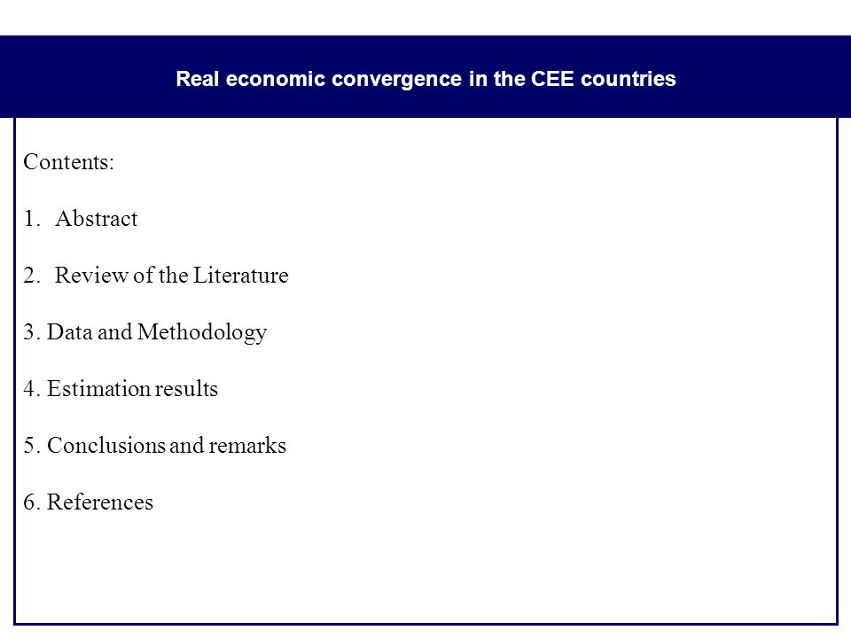 Real economic convergence in the CEE countries