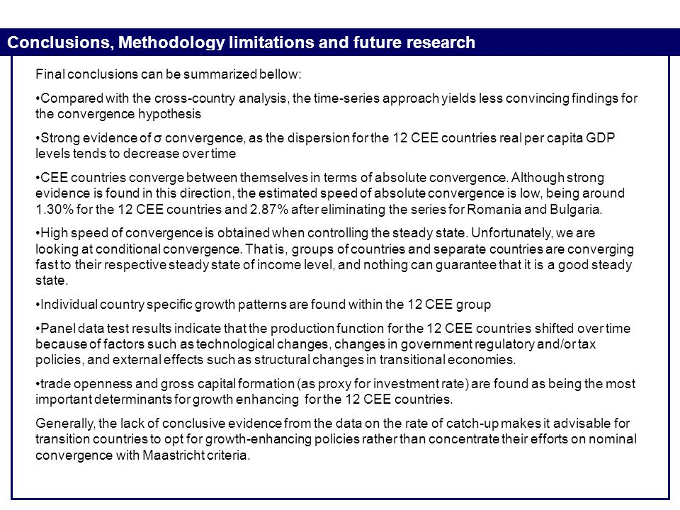 Conclusions, Methodology limitations and future research