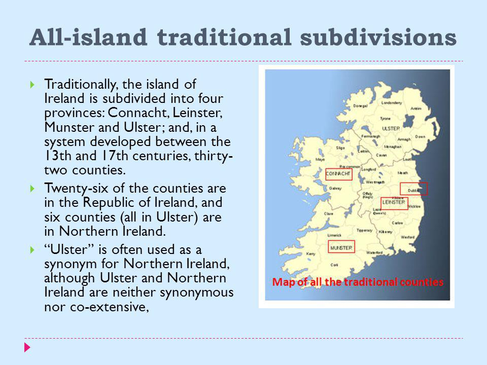 All-island traditional subdivisions