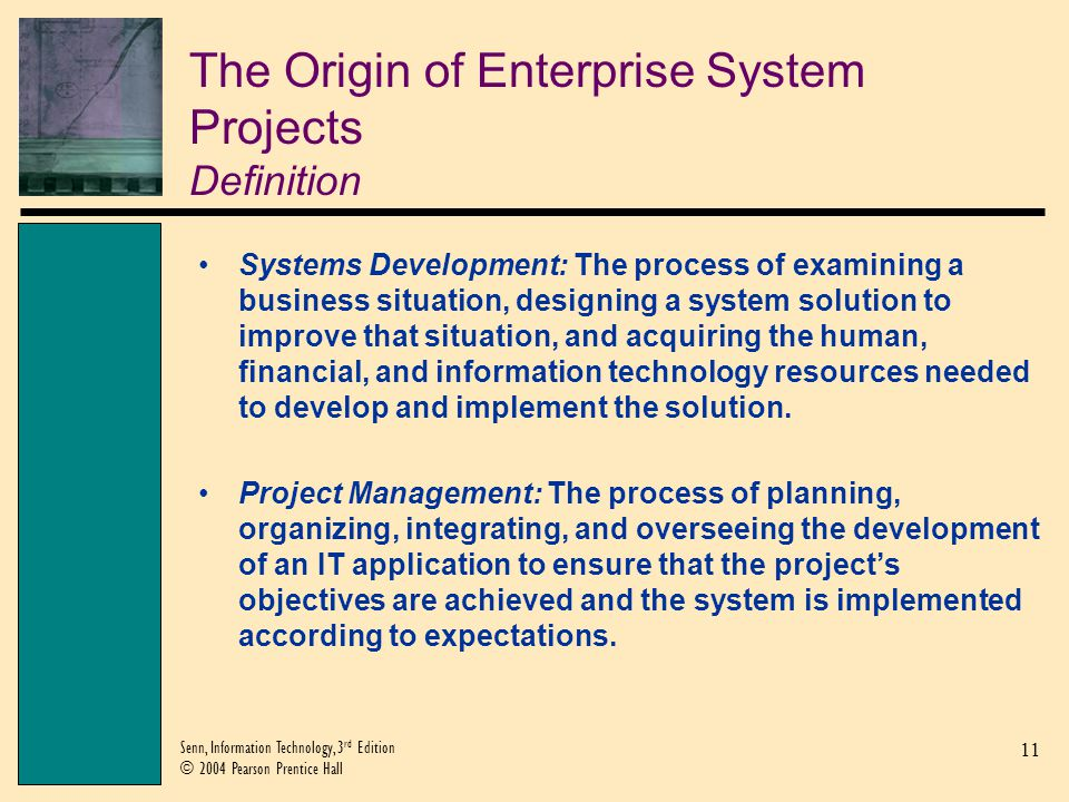 The Origin of Enterprise System Projects Definition
