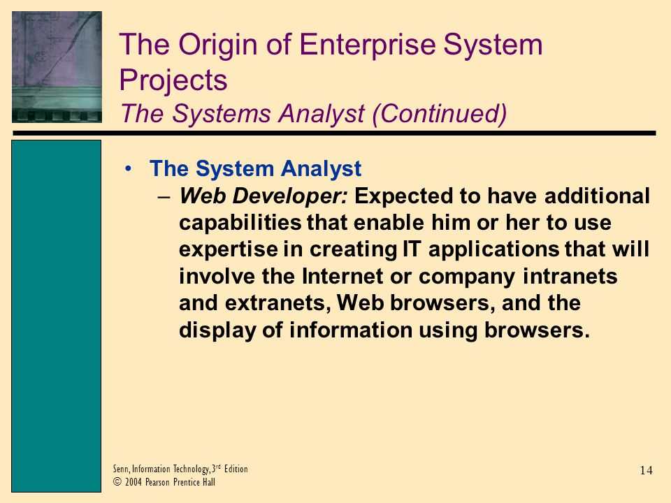 The Origin of Enterprise System Projects The Systems Analyst (Continued)
