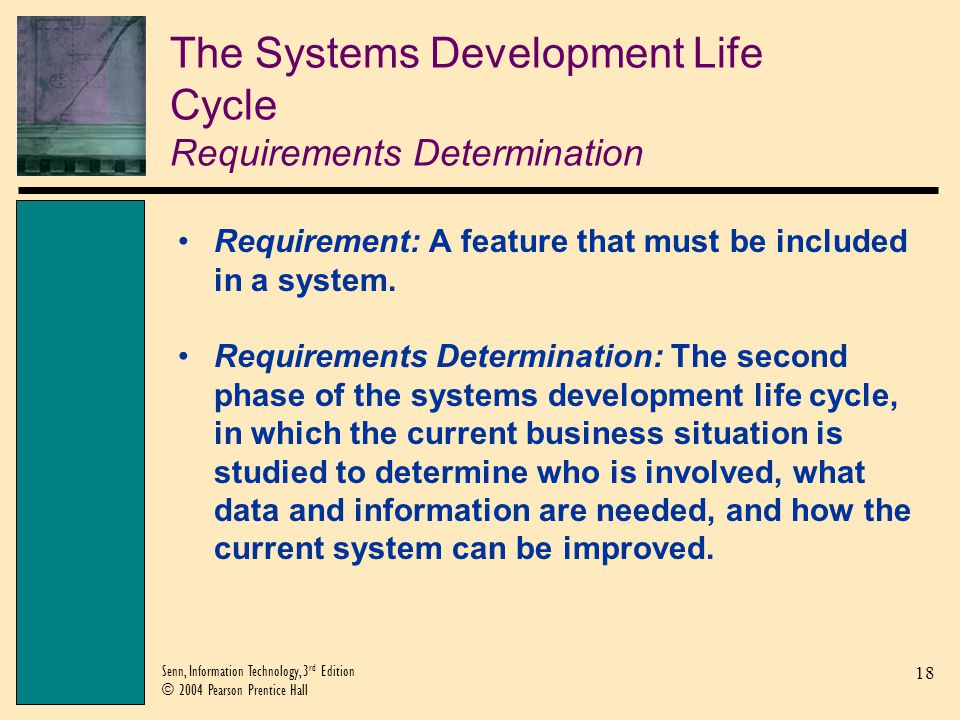 The Systems Development Life Cycle Requirements Determination