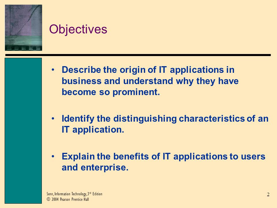 Objectives Describe the origin of IT applications in business and understand why they have become so prominent.