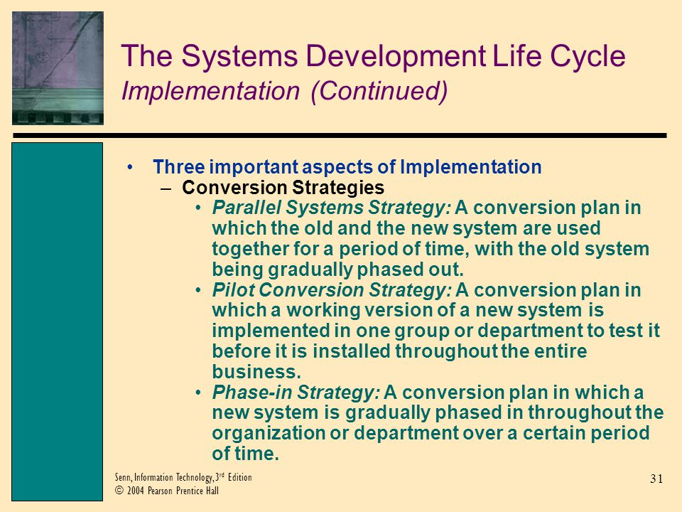 The Systems Development Life Cycle Implementation (Continued)