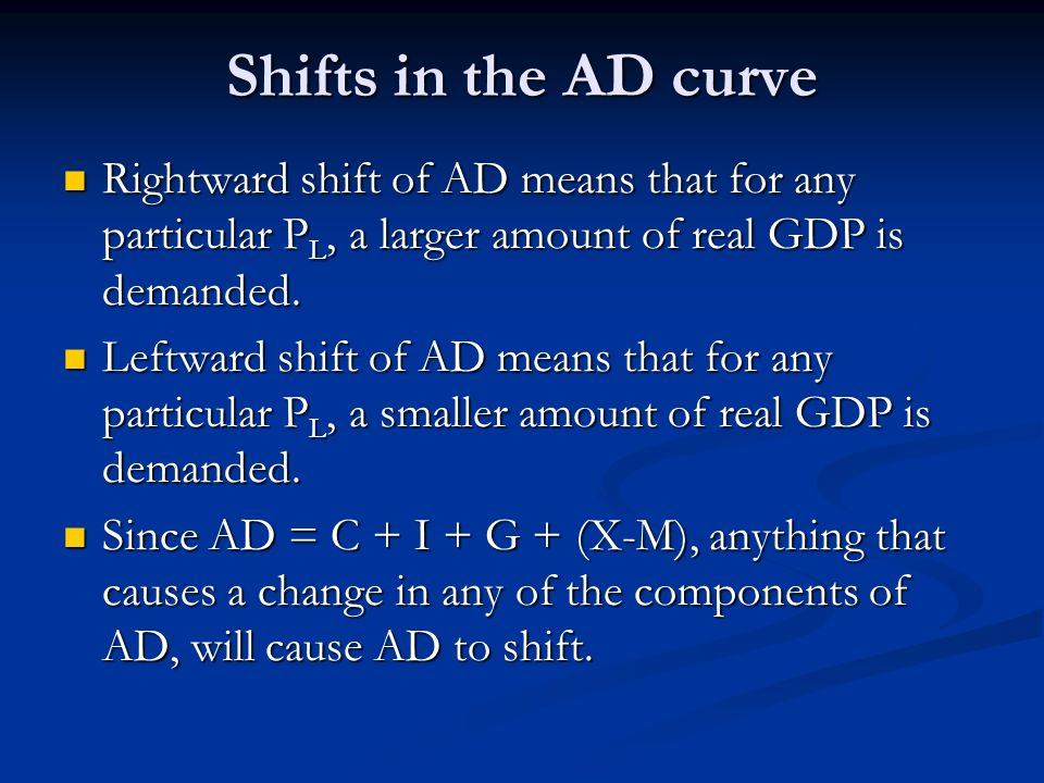 Shifts in the AD curveRightward shift of AD means that for any particular PL, a larger amount of real GDP is demanded.