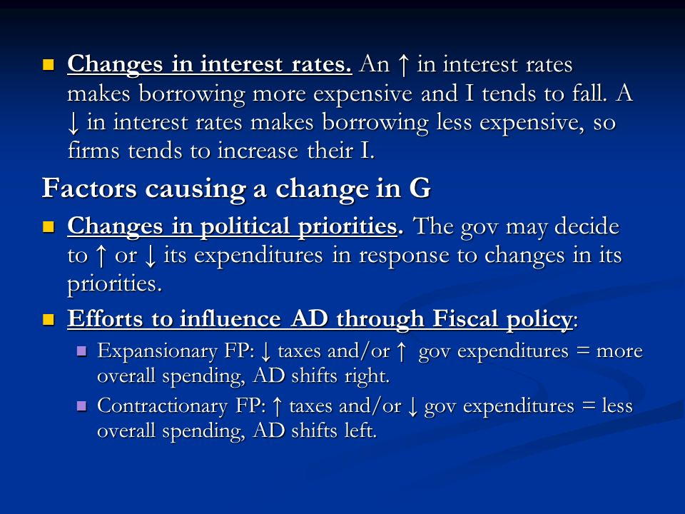 Factors causing a change in G