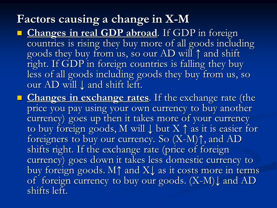 Factors causing a change in X-M