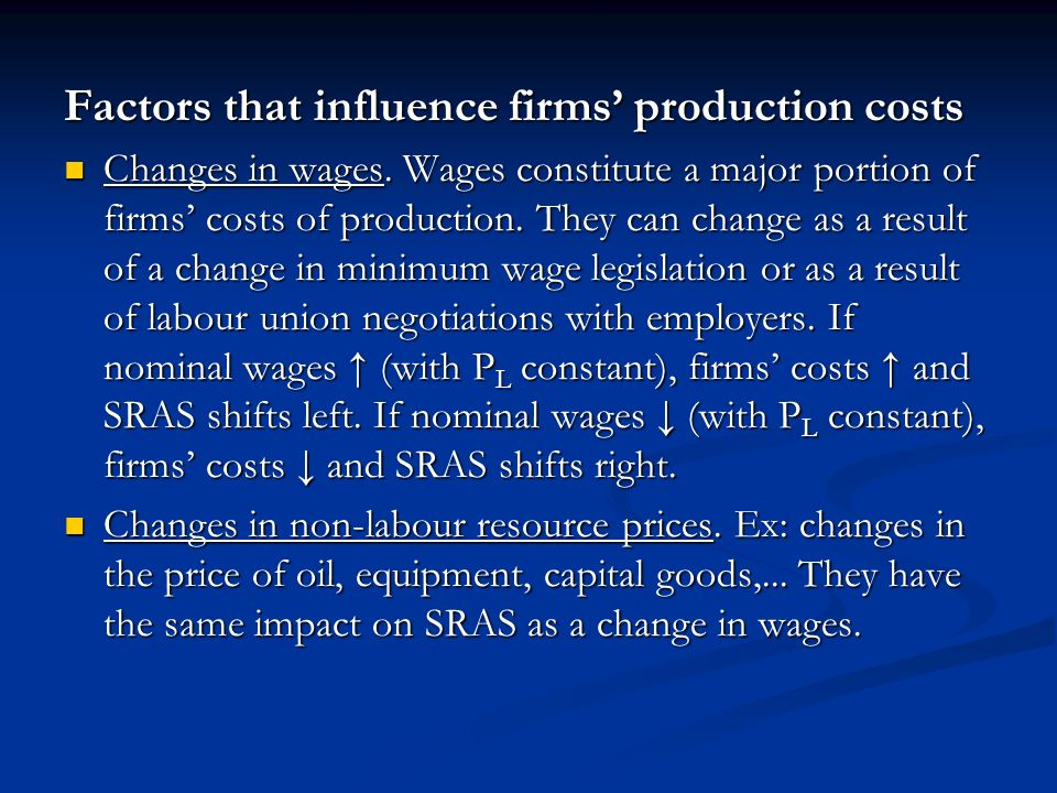 Factors that influence firms' production costs