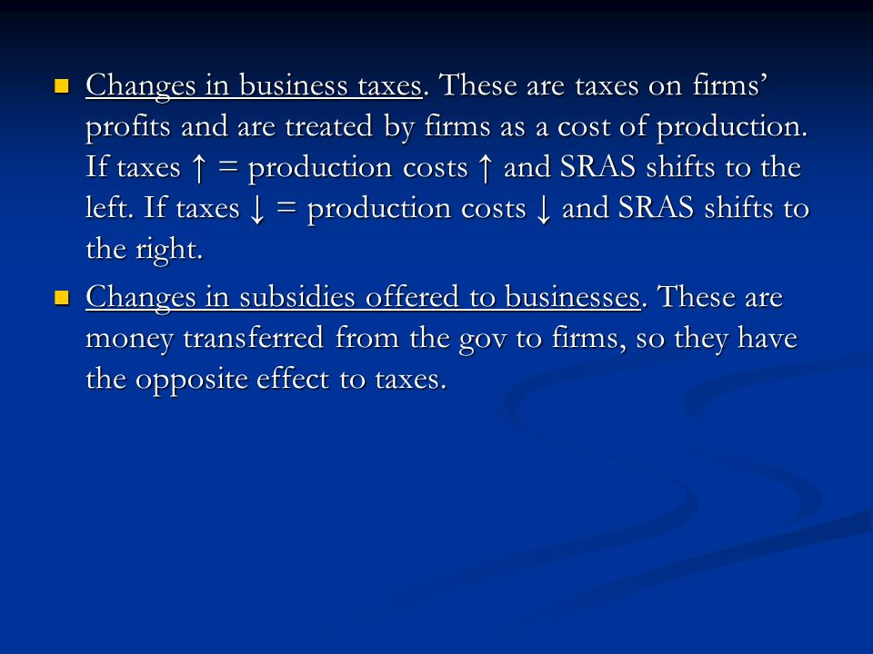 Changes in business taxes