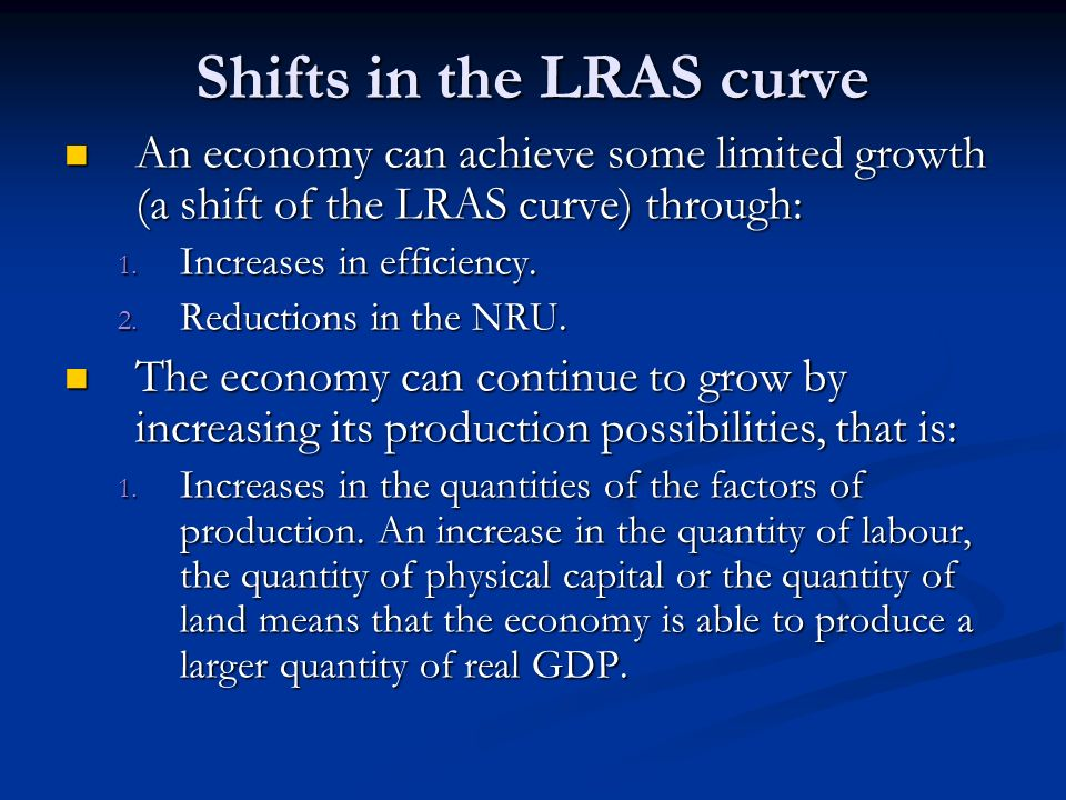 Shifts in the LRAS curve