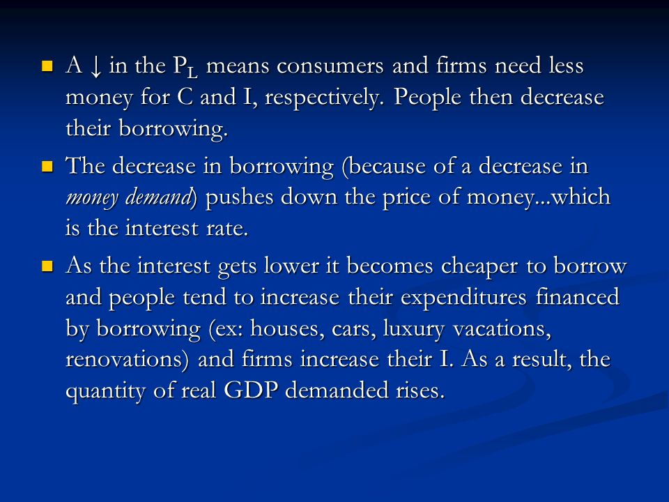 A ↓ in the PL means consumers and firms need less money for C and I, respectively. People then decrease their borrowing.