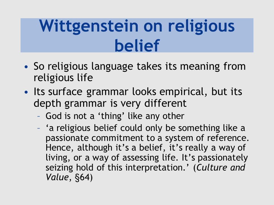Wittgenstein on religious belief