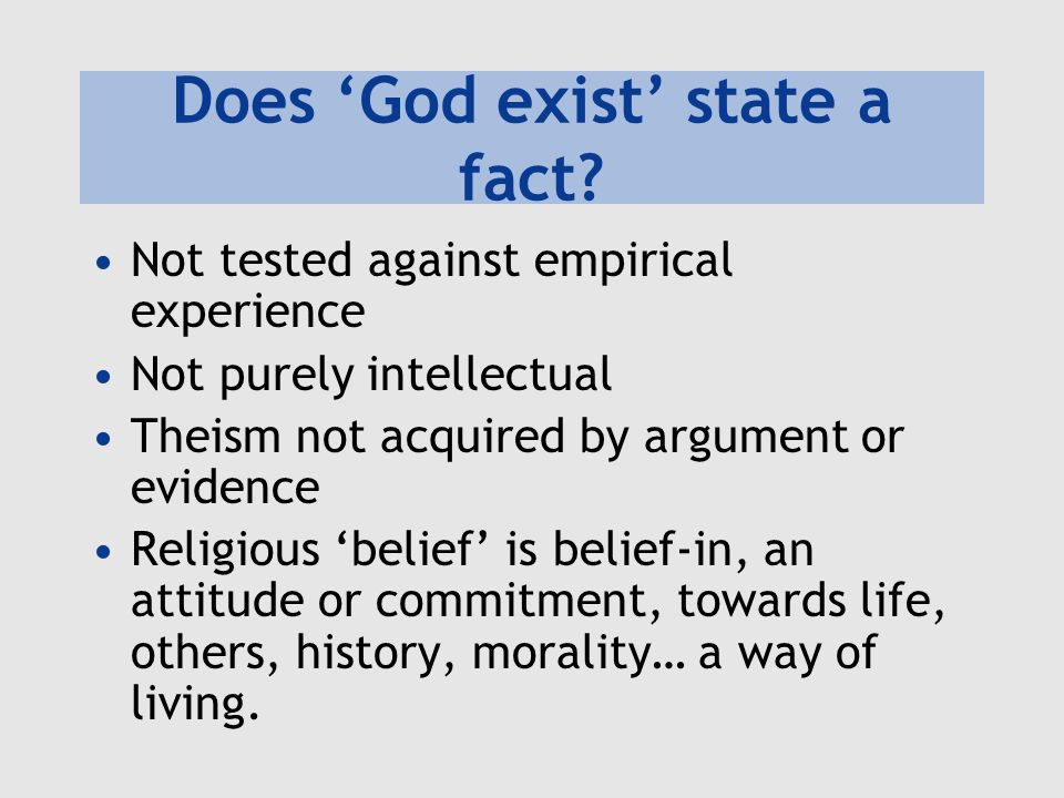 Does 'God exist' state a fact