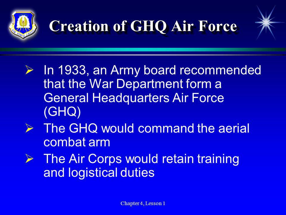 Creation of GHQ Air Force