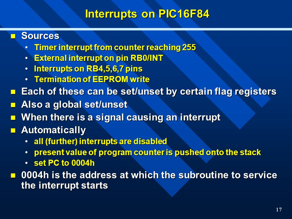Interrupts on PIC16F84 Sources