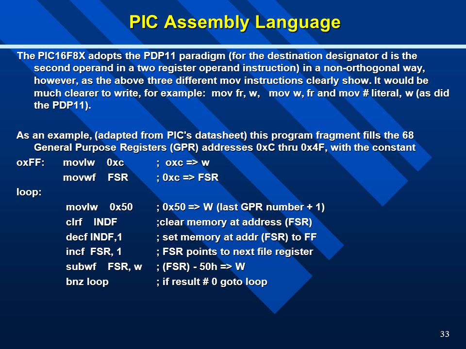 PIC Assembly Language