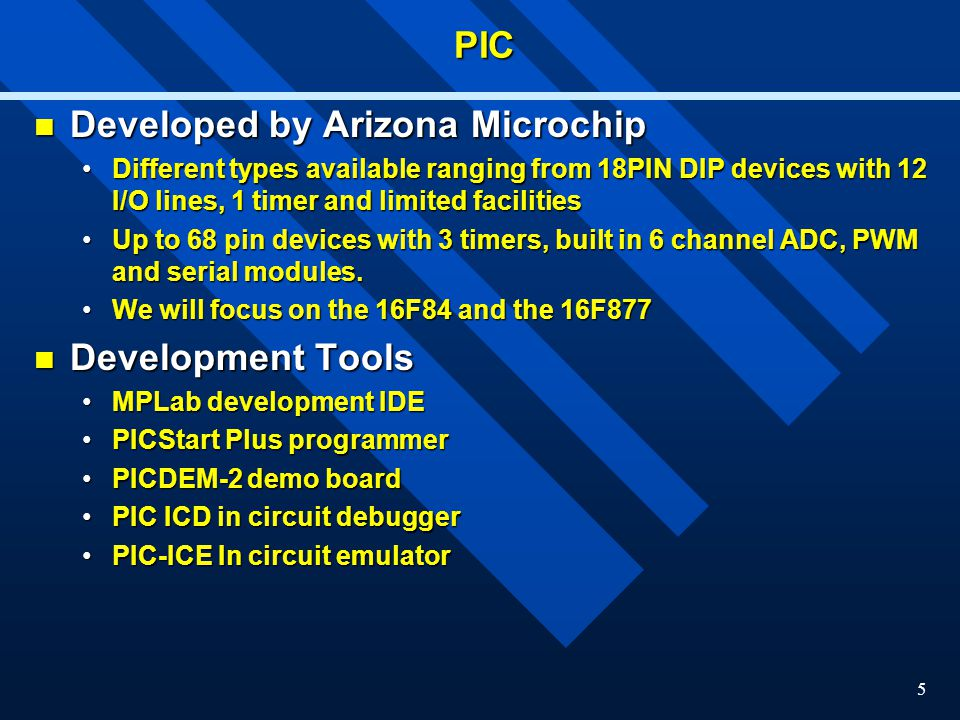Developed by Arizona Microchip