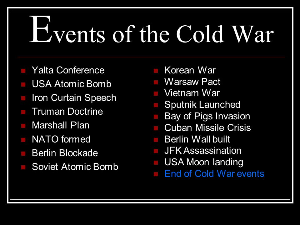 Events of the Cold War Yalta Conference USA Atomic Bomb