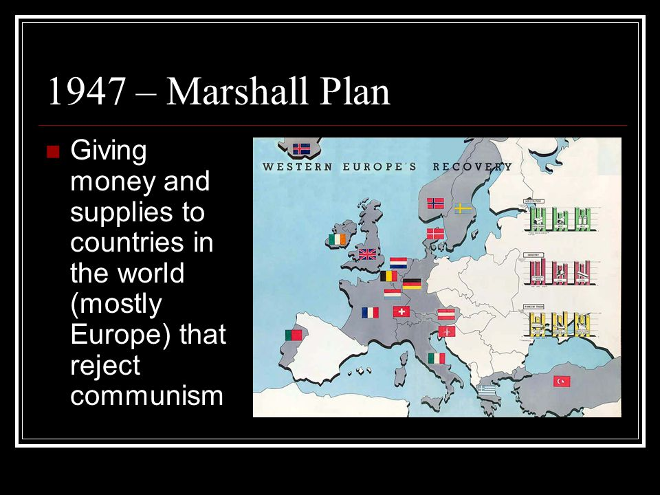 1947 – Marshall Plan Giving money and supplies to countries in the world (mostly Europe) that reject communism.