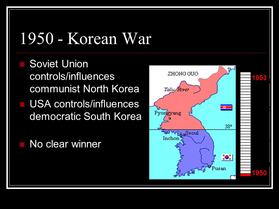 1950 - Korean War Soviet Union controls/influences communist North Korea. USA controls/influences democratic South Korea.