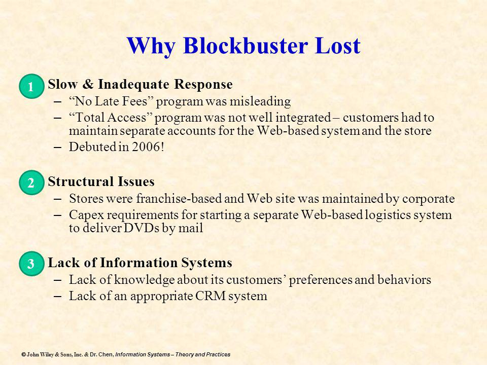 Why Blockbuster Lost Slow & Inadequate Response Structural Issues
