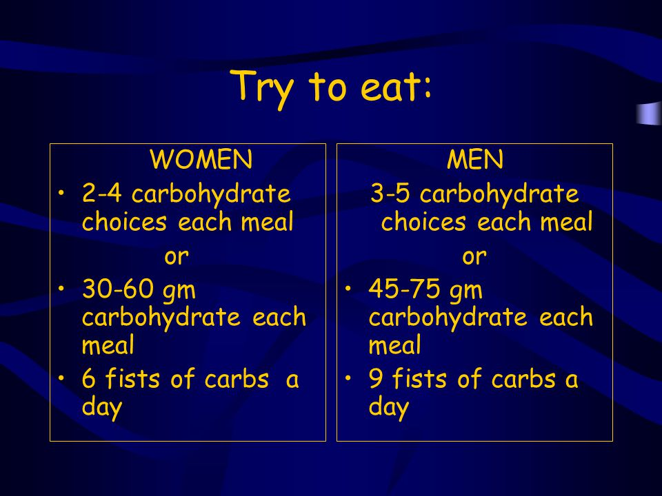 3-5 carbohydrate choices each meal