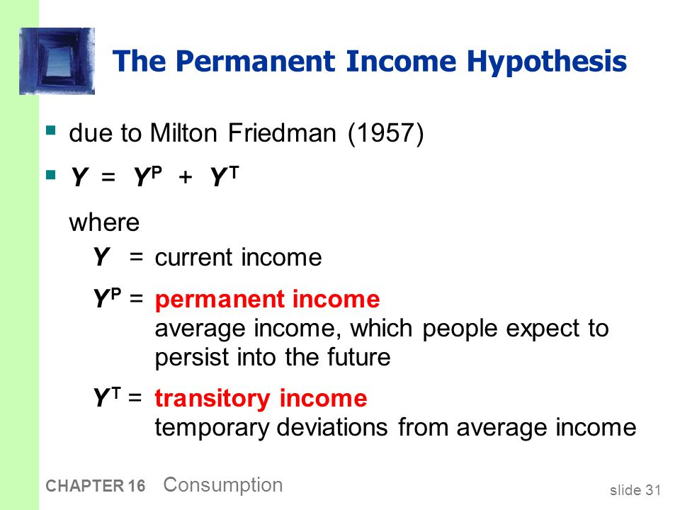 The Permanent Income Hypothesis