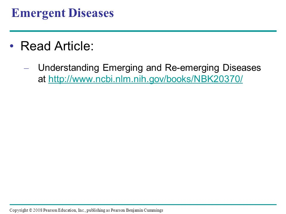 Emergent Diseases Read Article: