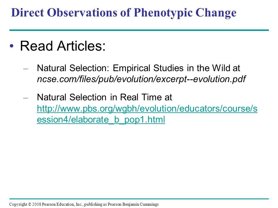 Direct Observations of Phenotypic Change