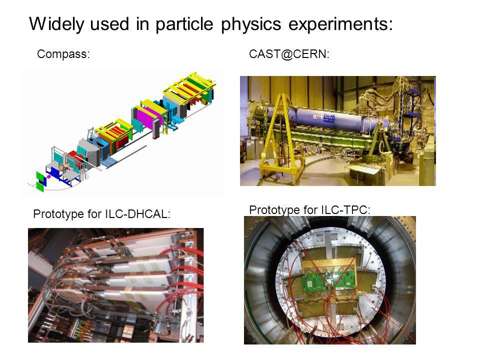 Widely used in particle physics experiments: