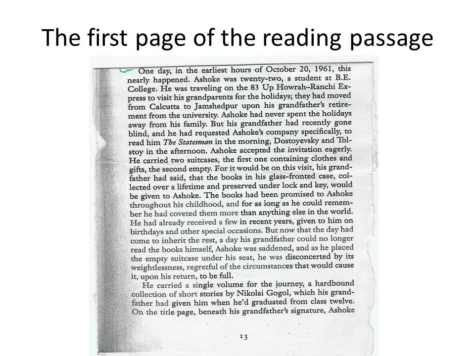 The first page of the reading passage