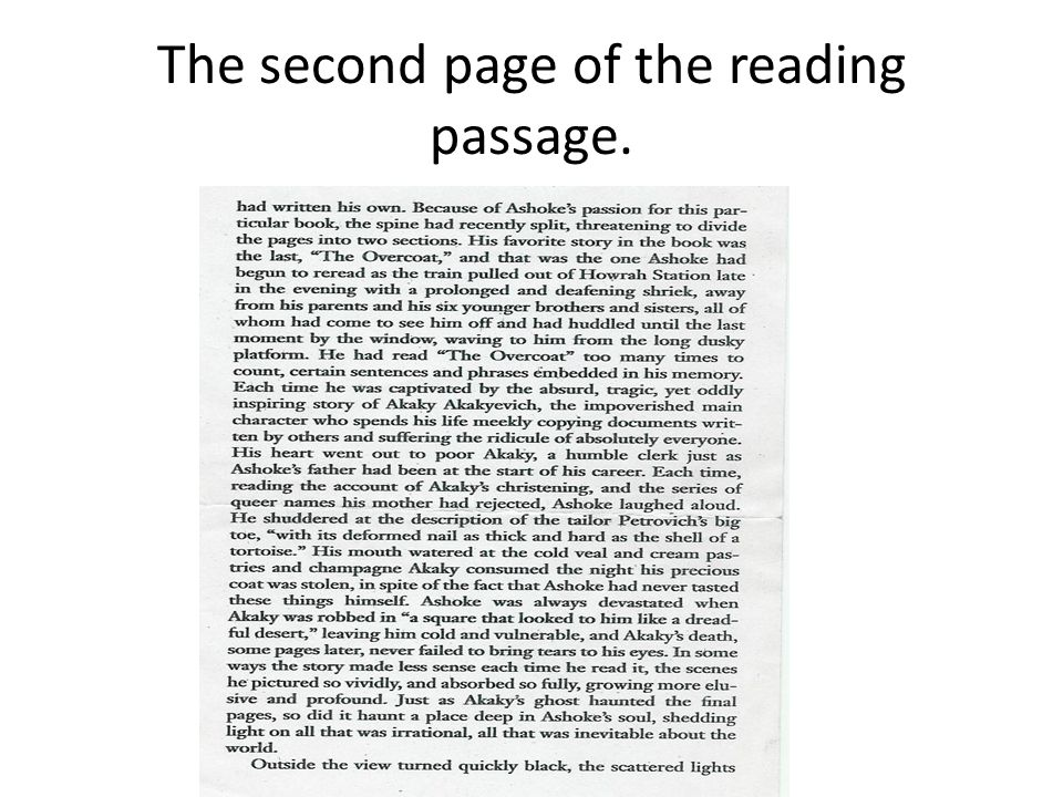 The second page of the reading passage.