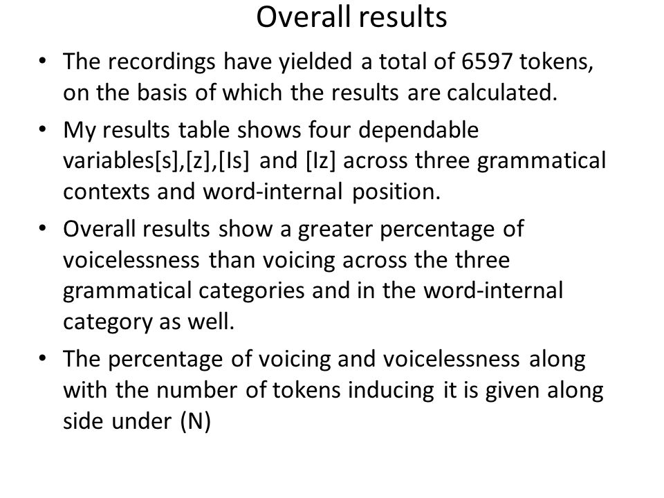 Overall results The recordings have yielded a total of 6597 tokens, on the basis of which the results are calculated.
