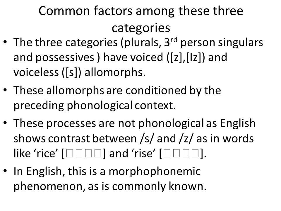 Common factors among these three categories