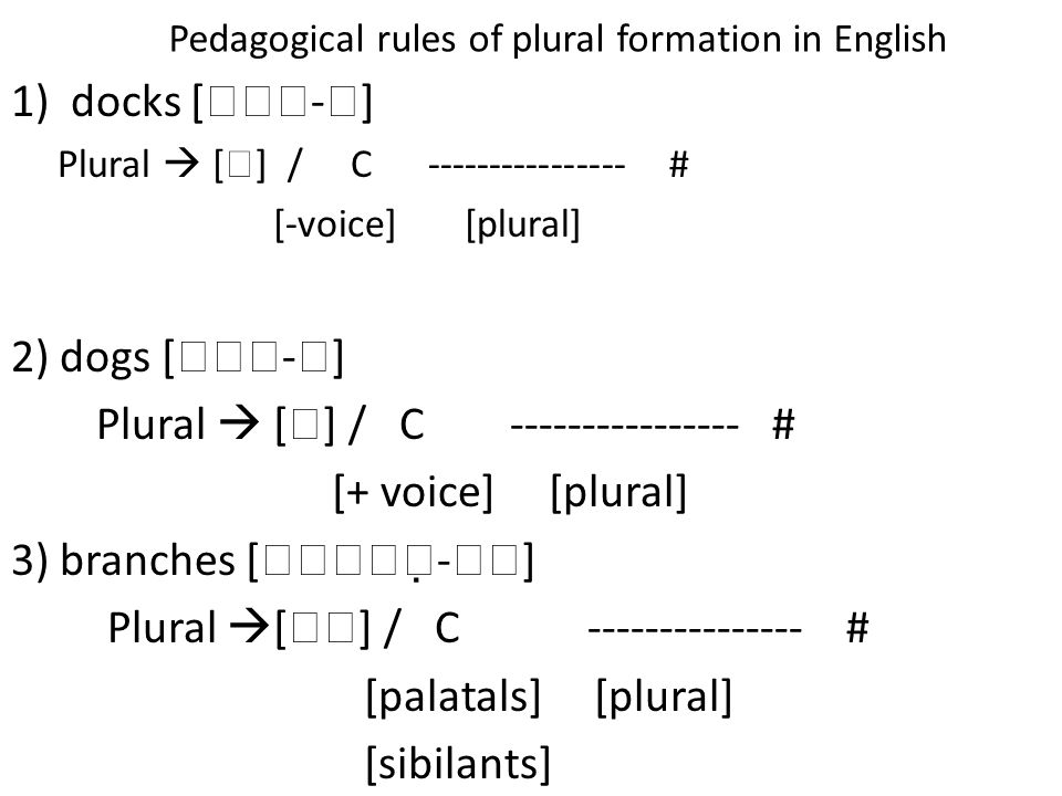 Pedagogical rules of plural formation in English