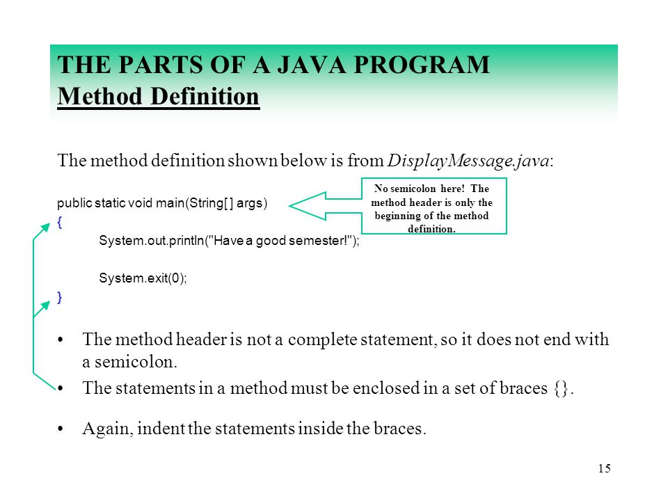 THE PARTS OF A JAVA PROGRAM Method Definition