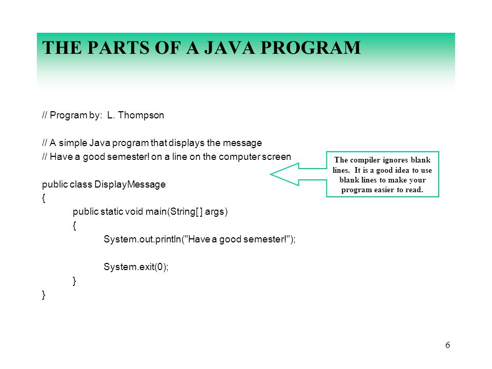 THE PARTS OF A JAVA PROGRAM