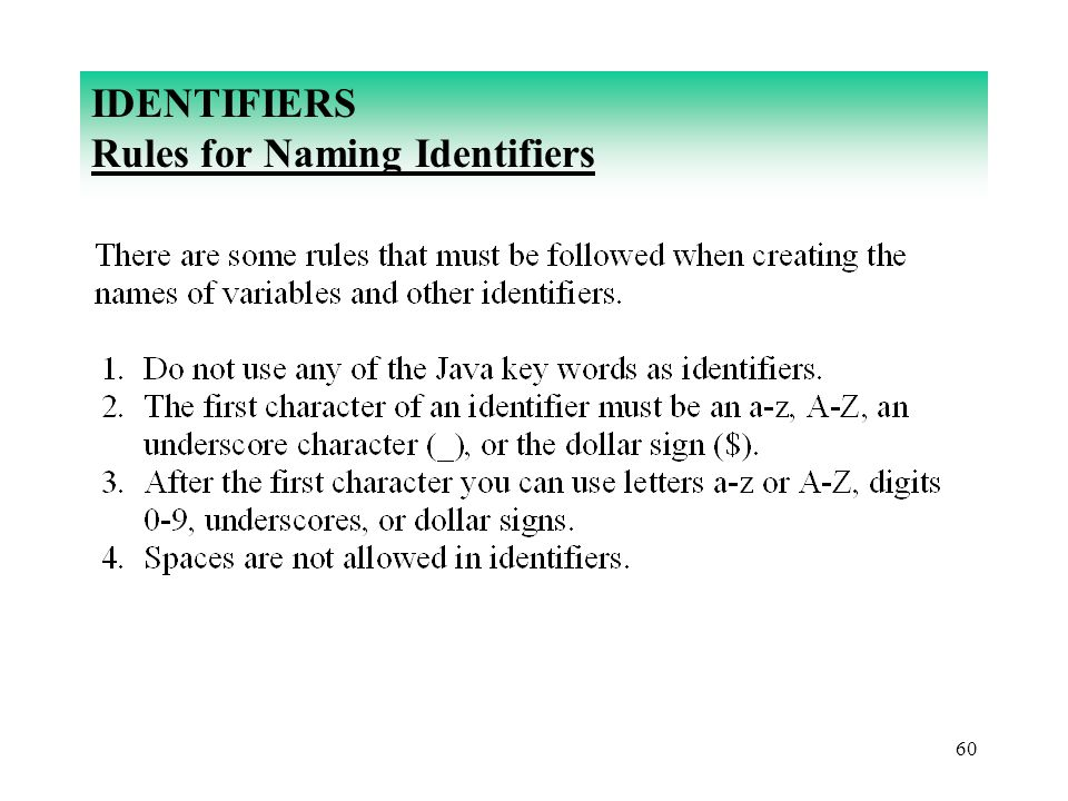 IDENTIFIERS Rules for Naming Identifiers