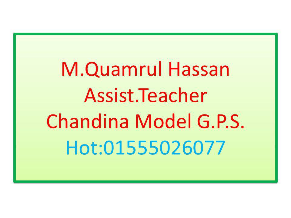 M.Quamrul Hassan Assist.Teacher Chandina Model G.P.S. Hot:01555026077