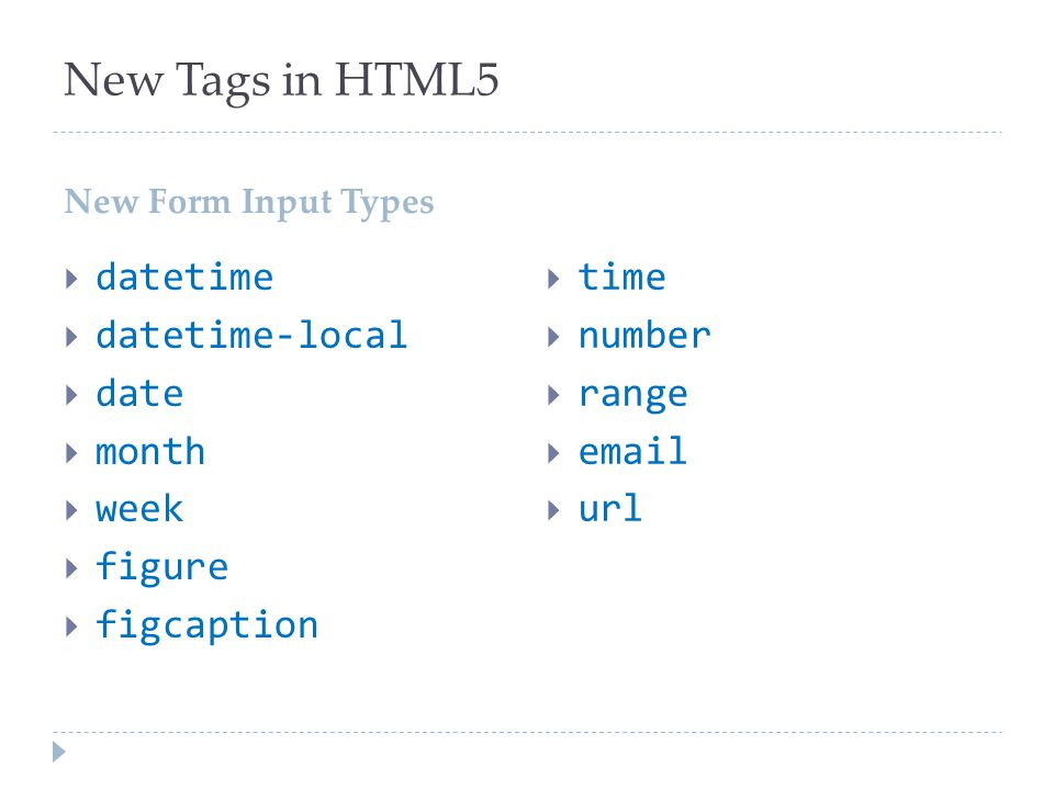 New Tags in HTML5 datetime datetime-local date month week figure