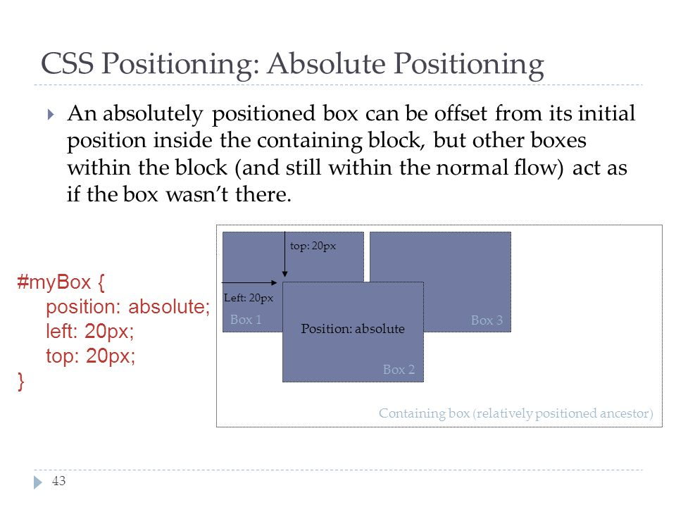 CSS Positioning: Absolute Positioning