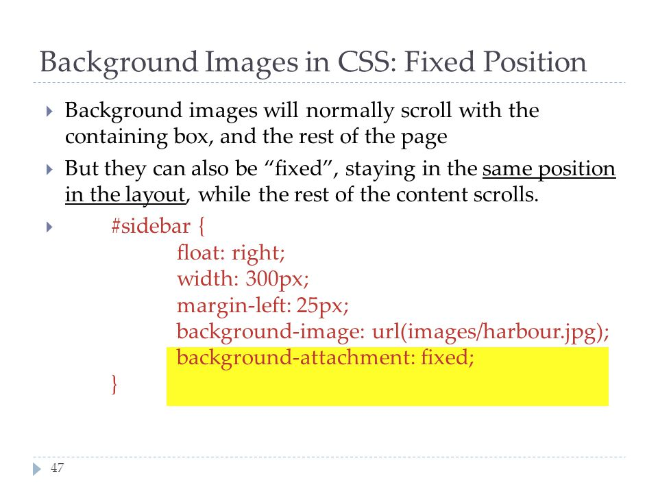 Background Images in CSS: Fixed Position
