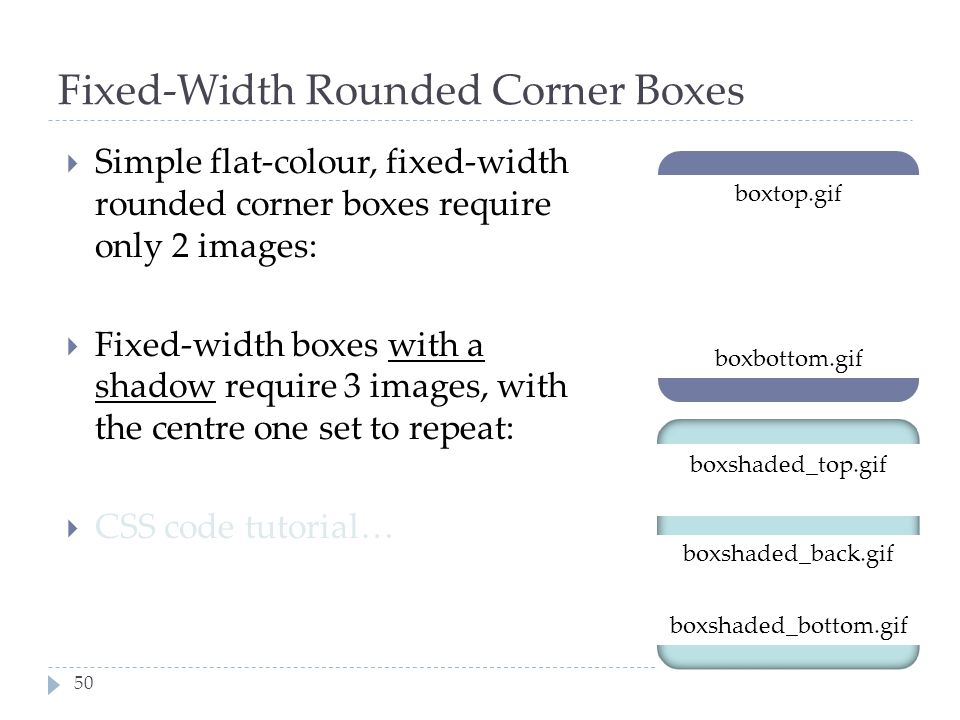 Fixed-Width Rounded Corner Boxes