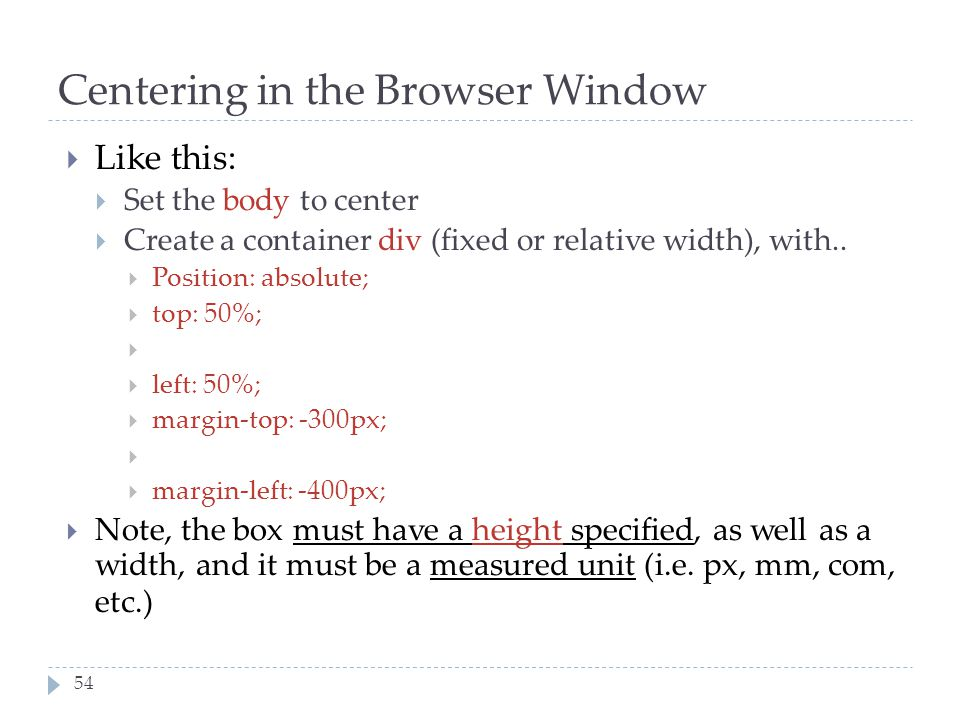 Centering in the Browser Window