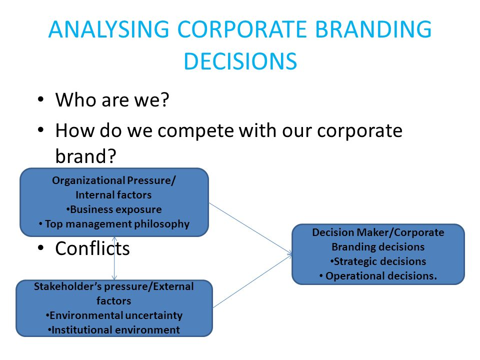 ANALYSING CORPORATE BRANDING DECISIONS